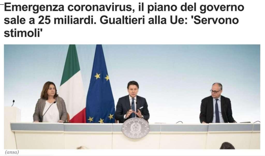 应对疫情,意大利财政拨款增至250亿欧元